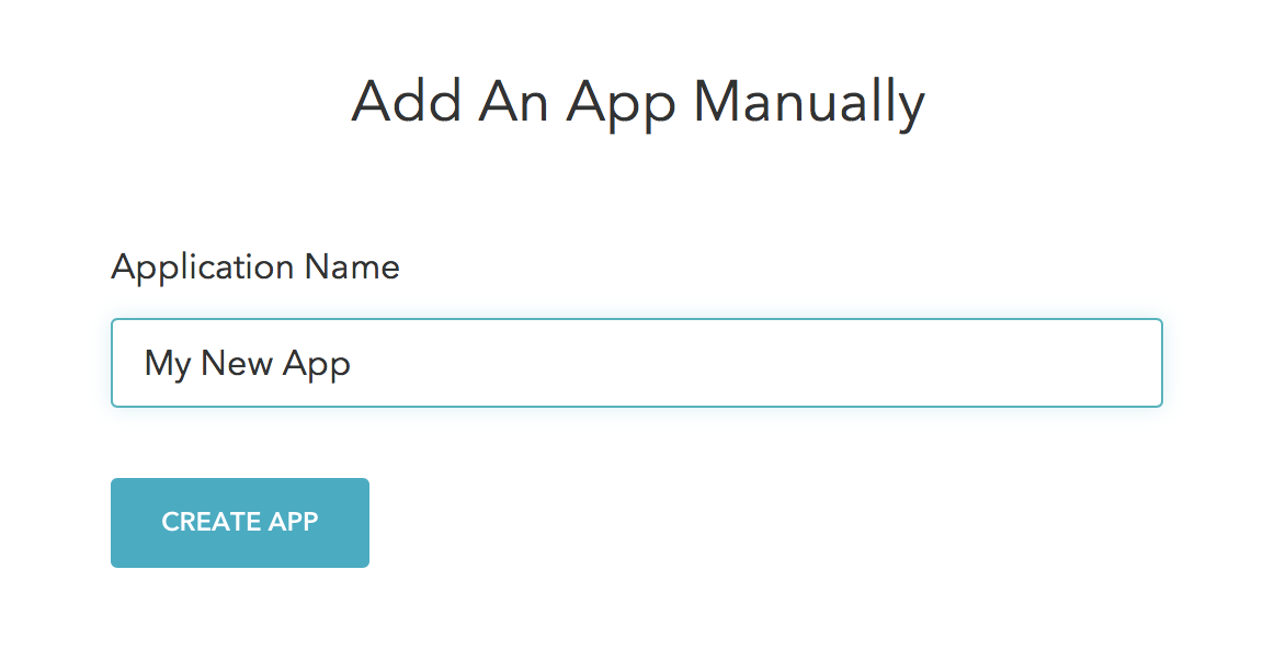 Screenshot of adding an app manually