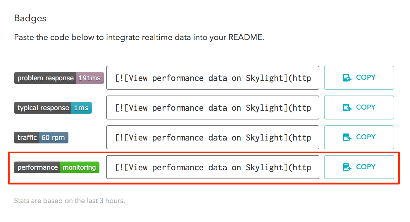 Screenshot of performance badge on settings page