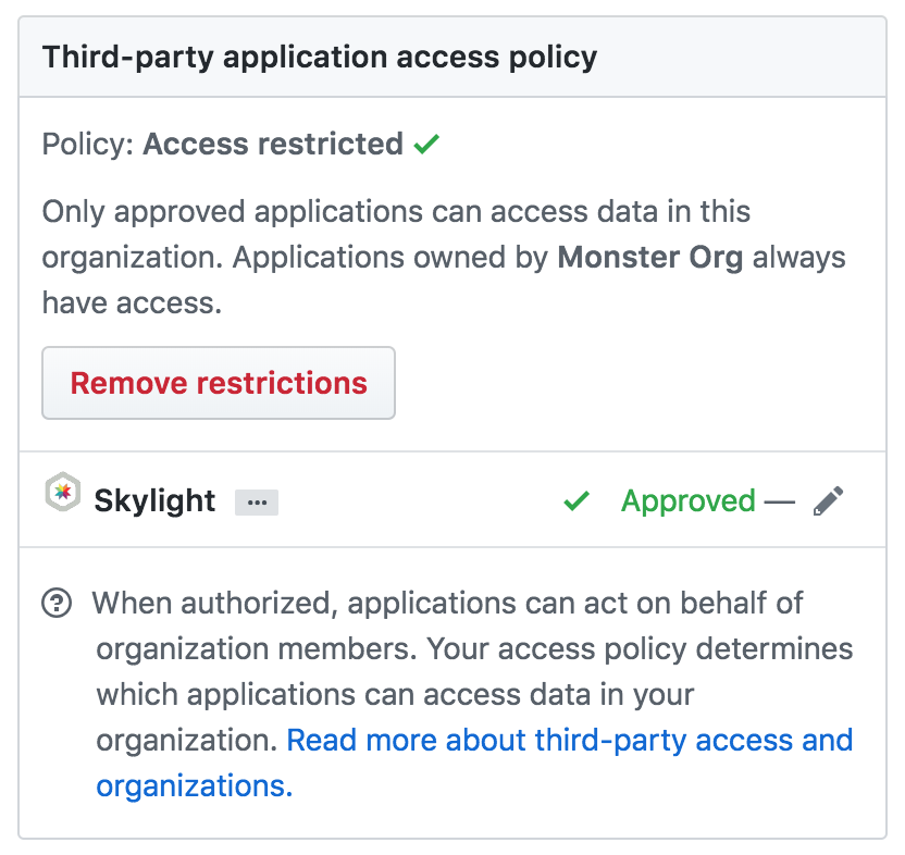 Screenshot of the GitHub third party access page