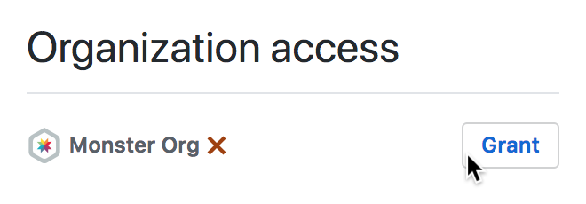 Screenshot of the GitHub organization access page